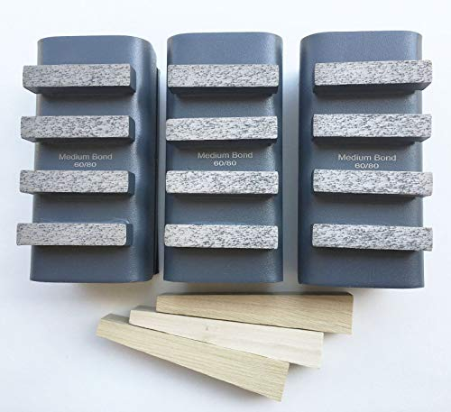 New 3PK 60Grit Smoother Diamond Grinding Blocks for Edco, Stow, Husqvarna, Diamond Products and General Equipment Floor ()