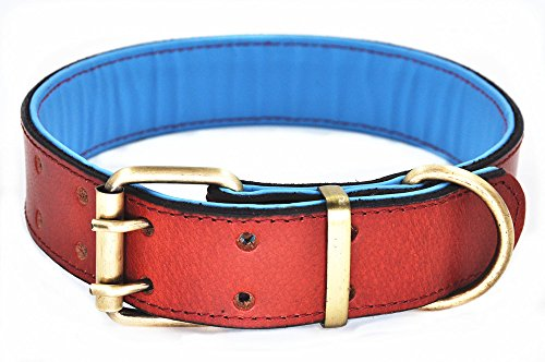 Moonpet Soft Padded Real Genuine Leather Dog Collar-Best Full Grain Heavy Duty Dog Collar-Durable Strong Adjustable for Small Medium Large Male Female Dogs Walking Running Training-Brown,17.2-22'' ()
