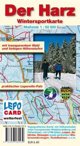Wintersportkarte - Der Harz: mit transparentem Wald und farbigen Höhenstufen. Maßstab 1:50000. Wetterfeste Ausgabe folienkaschiertes Papier