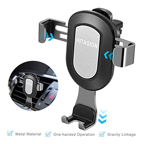 HITASION Air Vent Car Mount Cell Phone Holder Universal Metal Phone Holder Automatically Adjust Stable for Smartphone iPhone 7/7 Plus, Samsung Galaxy S8/S7/S6 edge/S6 GPS Silver