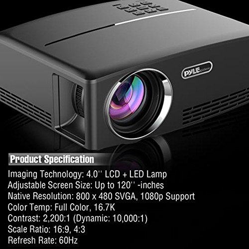 Digital Multimedia Home Theater Projector - HD 1080p Portable Digital Data System Projection w/LED, USB, HDMI Entertainment Video Photo Game Full Cinema Movie in Your Laptop - Pyle by Pyle (Image #7)