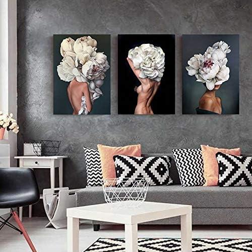 Inch Floolter Plumes Fleurs femme toile abstraite Peinture murale dart Affiche dimpression Photo Peinture d/écorative Salon D/écoration : A2 42x60cm No Frame Color : AB167 12, Size
