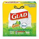 Glad OdorShield bolsas de basura con cordón para cocina, Ganancia Original, NA, 100 unidades
