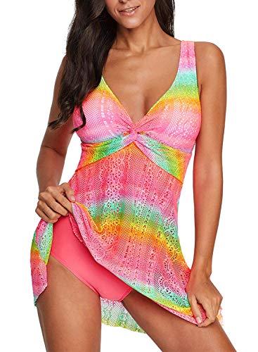 Paitluc Women's One Piece Swimsuit Flowy Lace Tank Overlay Swimdress Rose Bathing Suit ()