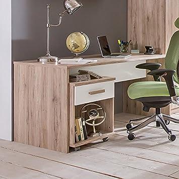 Kinderzimmer Schreibtisch Rollcontainer San Remo Eiche Weiss Pc