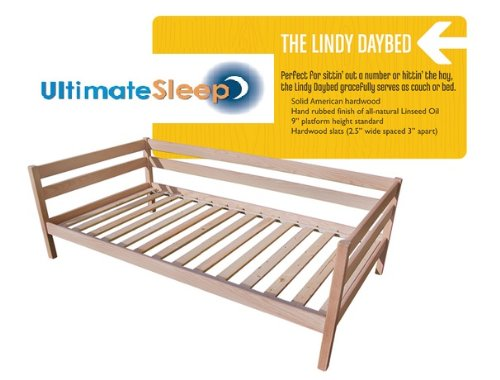 The Lindy DayBed of Sustainably Harvested Wood - Oak or Maple in Twin, TwinXL, Full & Queen Sizes - Made in USA (Hard Maple, (Oak Twin Size Daybed)