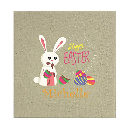 Style In Print Personalized Custom Text Easter Bunny Eating Chocolate Cotton Canvas Stretched Natural Canvas Printed Canvas - 12