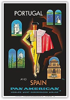 Pacifica Island Art Portugal y España por Clipper-Matador-Pan Am-Cartel del Viaje del Mundo de Jean Carlu c.1958-Maestro Lámina-13inx19: Amazon.es: Hogar