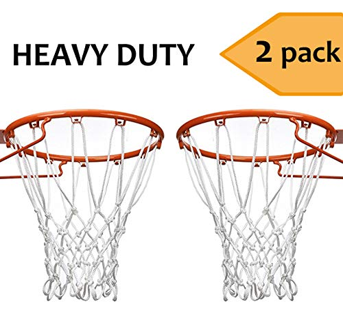 (Esther Beauty Heavy Duty Basketball Net 2 Pack Professional All-Weather Outdoor&Indoor 12 Loops Net (White))