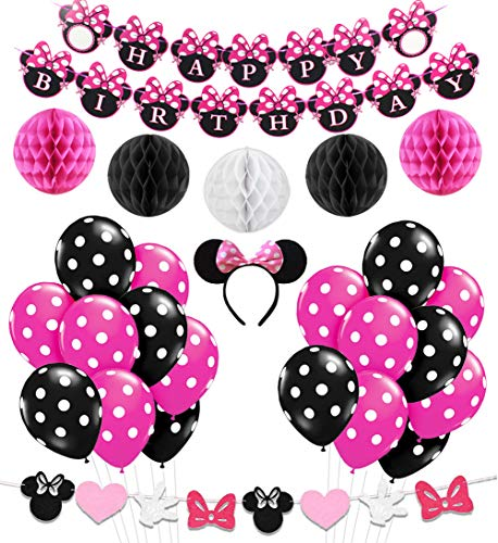 Minnie Mouse Party Decorations Supplies Pink Minnie Ears Birthday Banner Garland for Girls 1st 2nd Birthday Decorations