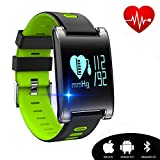 watch for high blood pressure - Kingkok Blood Pressure Monitor Touch Screen Personal Fitness Tracker Waterproof Pedometer Heart Rate Activity Tracker Watch [Green]