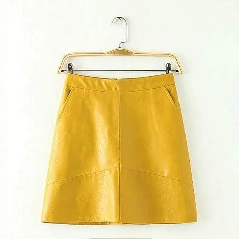 HEHEAB Falda,Una Línea Amarilla por Encima De La Rodilla PU Mini ...