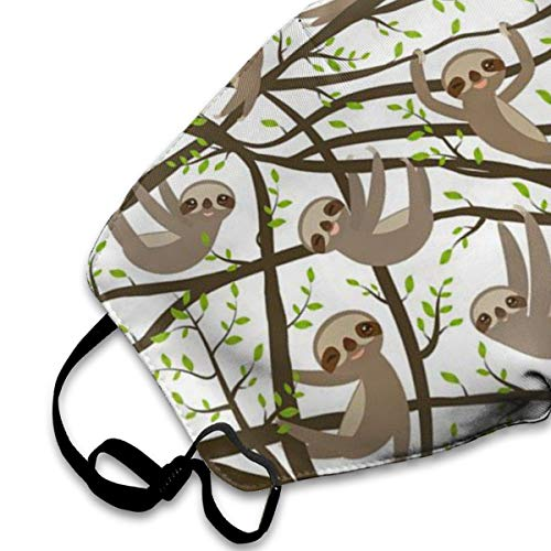 NOT Funny Kawai Sloth Set On A Branch PM2.5 Mask, Adjustable Warm Face Mask Unique Cover Filters Blocking Pollen Pollution Germs£¬Can Be Washed Reusable Pollen Masks Cotton Mouth Mask for Men Women