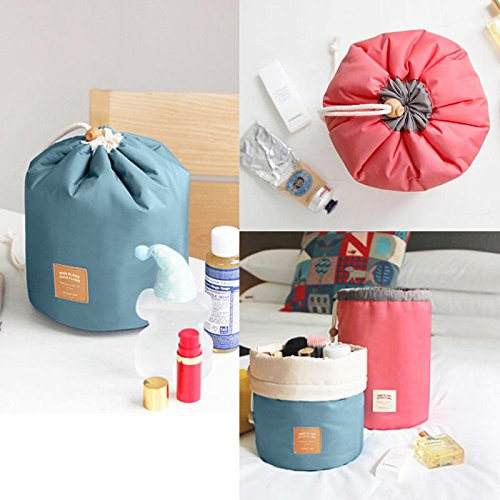 Finlon Cosmetic Bag Waterproof Travel Makeup Cosmetic Bag Travel Kit Organizer Bathroom Storage Cosmetic Bag Carry Case Toiletry Bag (Cylindrical Red)
