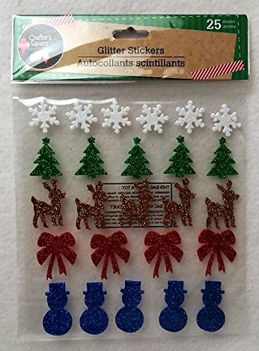 Christmas Holiday Snowflake Tree Reindeer Glitter Winter Craft Home Decor Decoration Decorations Stickers Blue