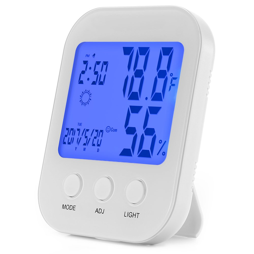 ENGREPO Indoor Humidity and Thermometer Monitor, Digital Alarm Clock, Calendar and Home Weather Station, Large LCD Backlight Display E21
