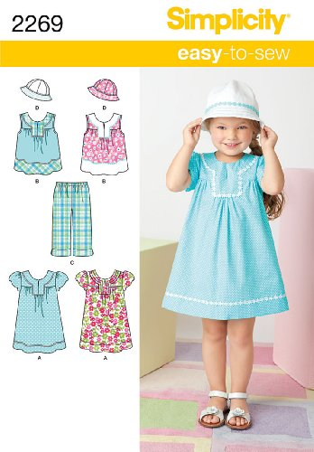 (Simplicity Easy-to-Sew Pattern 2269 Girls Dress, Top, Cropped Pants, Hat Sizes 3-4-5-6-7-8)