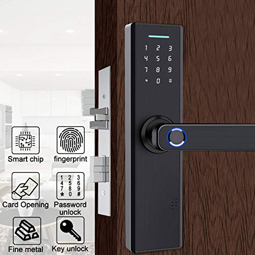 Fingerprint Door Lock, Black Smart Anti-Theft Card&Password&Key Security System for Home Office