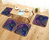 UHOO2018 Chair Cushions Ornament Card with Girl Belly Dance mehenidi Element Drawn Perfect Cards for Any Non Slip Comfortable W25.5 x L25.5/4PCS Set