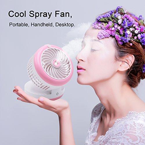 Portable Handheld Misting Fan Mini USB Fan Multifunction 3 in 1 Cooling Fan,Beauty Humidifier,Power Bank Water Spray Fan for Home, Office, Kitchen, Bedroom, Desktop, Traveling, Hiking, Biking (Pink) by Rabbitroom (Image #3)