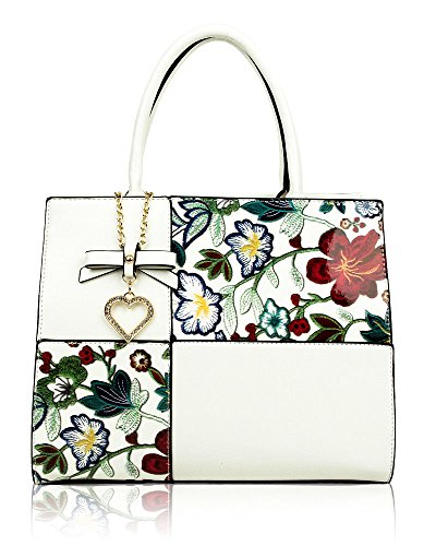 New Womens Bow+Heart Crystal Charm Large Patent Floral Tote Bag Shoulder Handbag White