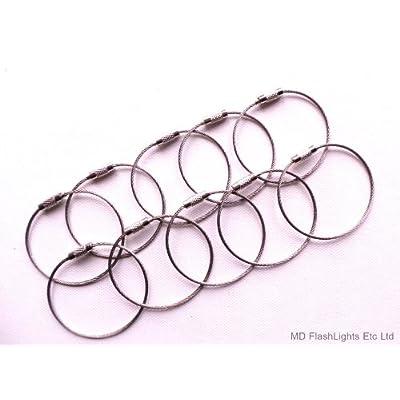 10x 150mm (15,2cm) Porte-clés Câble en acier inoxydable Boucles Charge Carrosse EDC survie