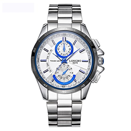 LONGBO Sportive Watch Stainless Steel Band Men Wrist Watches for Adults Mens Womens