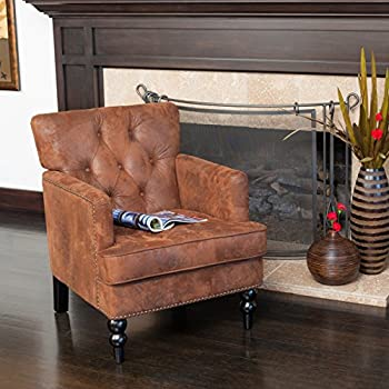 Great Deal Furniture Medford Brown Fabric Club Chair