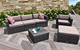 PATIOROMA Outdoor Furniture Sectional Sofa Set (6-Piece Set) All-Weather Dark Grey PE Wicker with Cushions & Glass Coffee Table & Single chair   Patio, Backyard, Pool Steel Frame