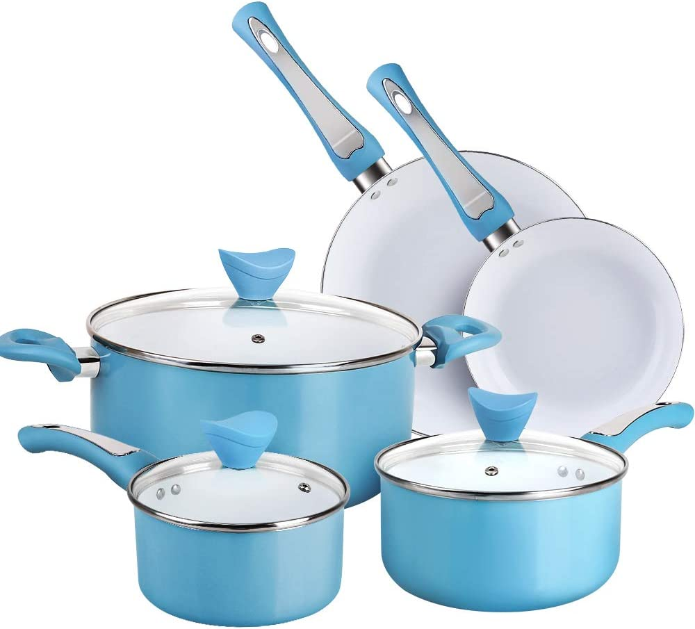 SHINEURI 8 Pieces Nonstick Pots and Pans Set - Ceramic Cookware Set with Stay Cool Handle & Lid Cookware for Induction, Gas, Electric and Stovetops (8 Pieces - Blue)