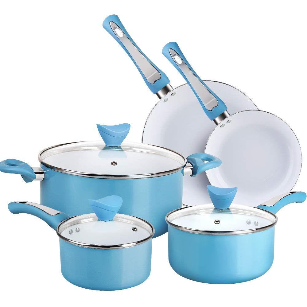 Aluminium Cookware Set with Stay Cool Handle /& Lid Cookware for Induction Electric and Stovetops 8 Pieces - Blue Gas SHINEURI 8 Pieces Nonstick Ceramic Pots and Pans Set