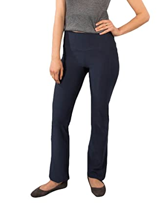 3f5538a6d4 Betabrand Women's Travel Yoga Pants (Straight-Leg) XXL-Long Navy at ...