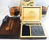 Image of Whiskey Stones Chilling Rocks Set of 9 Natural Granite Stones to Chill Drink & Retain Full Flavor | Classic Engraved Wood Box Metal Tongs & Velvet Bag | Great Groomsmen / Whiskey Lover / Holiday Gift