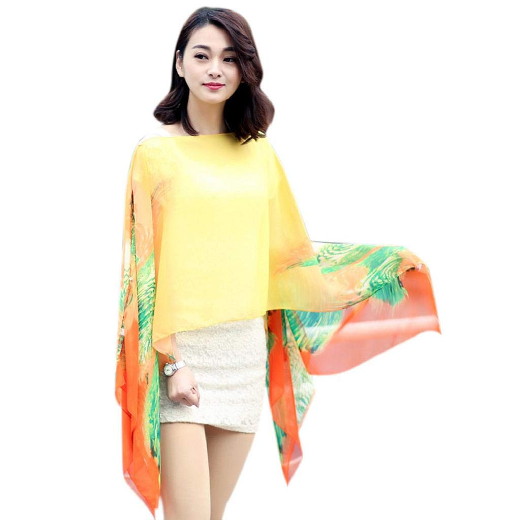 Swimsuit Cover Ups, MISYAA Gradient Floral Beach Shawl Bikini Silk Wrap Long Elegant Shawls and Wraps for Dresses Gifts