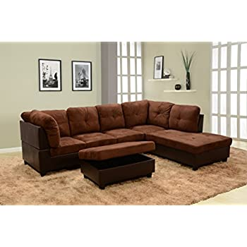 Beverly Fine Furniture F107B Andes Microfiber With Faux Leather Sofa Set  With Ottoman, BROWN