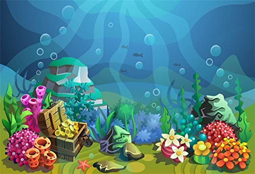 AOFOTO 6x4ft Polyester Undersea Treasure Box Backdrop Underwater Coral Flowers Water Plants Air Bubbles Background for Photos at Little Daughters' Birthday Party Event Photo Studio Props No Wrinkle