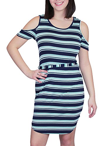 [No Comment Cold Shoulder Horizontal Stripe Short Shirttail Hem Dress with Tie Belt White/Navy/Gray Stripe] (All White Party Outfit Ideas)