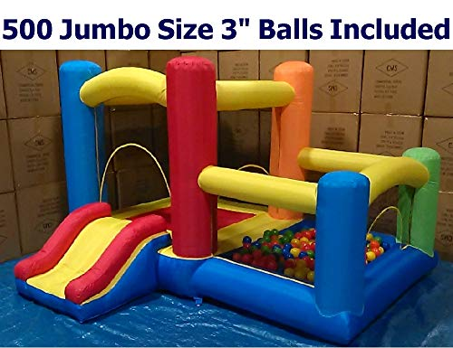 Little 3-in-1 Castle Bounce House w/ Attached Ball Pit, Slide & 500 Jumbo 3