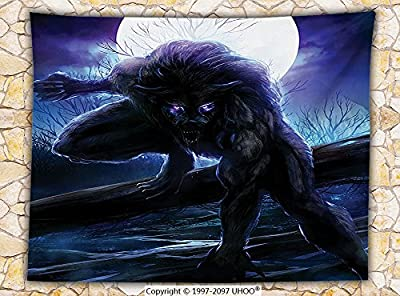 Fantasy World Decor Fleece Throw Blanket Surreal Werewolf with Electric Eyes in Full Moon Transformation Folkloric Decor Throw Indigo Yellow