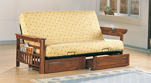 Futon Cottage Furniture (Coaster Traditional Oak Futon Frame with Flip Up Arms and Magazine Racks)