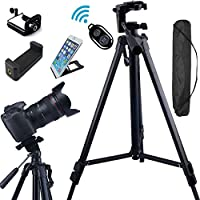 FoAnt Aluminum Professional Lightweight Camera Tripod for iPhone, Cellphone,Gopro Hero,Digital SLR DSLR Video Cameras with Cellphone Holder Clip and Remote Shutter-54/Black