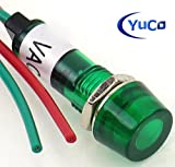 Yuco YC-9WRT-1G-24-10 Mini Indicator Light 9mm Cylindrical Cap Wire-Base Ring + Nut AC/DC Pack of 10 (Green, 24V)