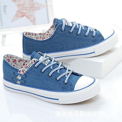 Scarpe Da Donna Trendy Easemax Con Cuciture In Pizzo Floreale Blu Con Punta Arrotondata Blu