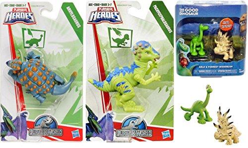 Disney The Good Dinosaur Pixar Arlo & Forrest Woodbrush Mini Figure Pack Jurassic Ankylosaurus Figure & Playskool Heroes Chomp 'N Stomp PACHYCEPHALOSAURUS Collection Dinosaur