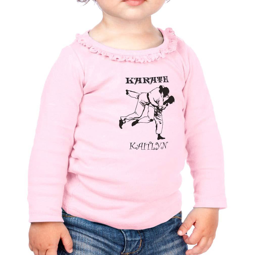 Personalized Custom Karate Cotton Girl Toddler Long Sleeve Ruffle Shirt Top