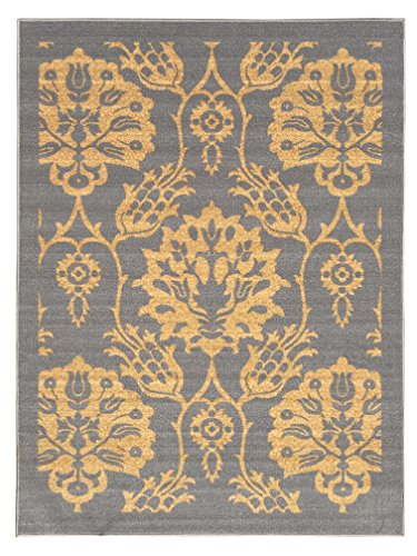 5-feet X 7-feet Non-Skid Rubber Backed Area Rug | GREY - GOLD FLORAL Modern Rectangle Rugs 5X7