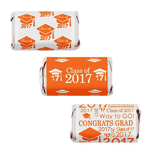 Class of 2017 Graduation Miniatures Candy Bar Wrapper Stickers, Set of 54 (Orange)