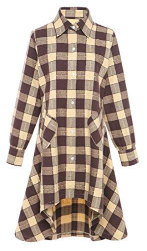 OLRAIN Womens New Plaids Irregular Hem Casual Shirt Dress (Medium, Nyellow) ()