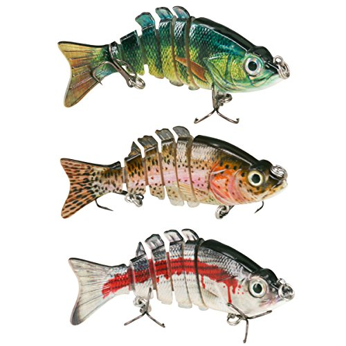 Himenlens F6J06 Multi Jointed Swimming Life Fish Swimbait Hard Fishing Lure Bass Bait(Pack 1-2-3)
