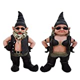 Cheap Nowaday Gnomes Biker Dude & Babe the 8.5″ H Biker Gnomes in Leather Motorcycle Riding Gear Home & Garden Gnome Figurine